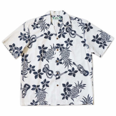 Ukulele Fun White Hawaiian Cotton Shirt - s / White - Men's Shirts