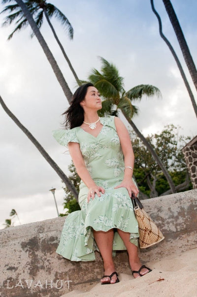 Ulu Green Pauahi Hawaiian Dress - Women's Dress
