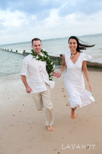 Ulu White Pauahi Hawaiian Wedding Dress - Women's Dress