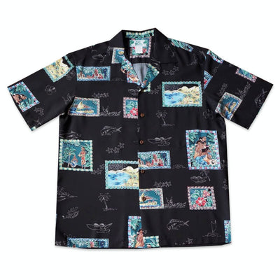 Vintage Portraits Black Hawaiian Rayon Shirt - Xs / Black - Men's Shirts