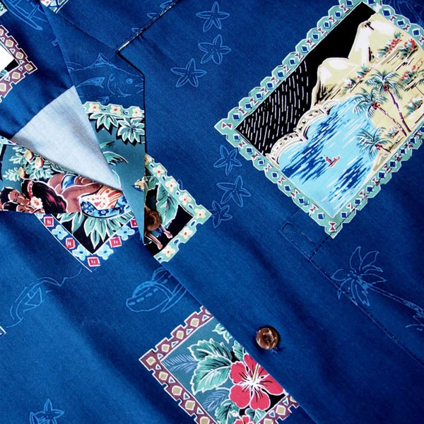 Vintage Portraits Blue Hawaiian Rayon Shirt - Mens Shirts