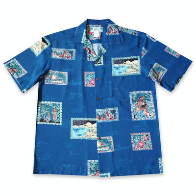 Vintage Portraits Blue Hawaiian Rayon Shirt - Xs / Blue - Mens Shirts