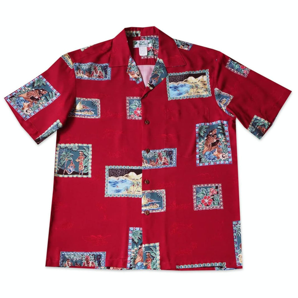 Vintage Portraits Red Hawaiian Rayon Shirt - Xs / Red - Mens Shirts