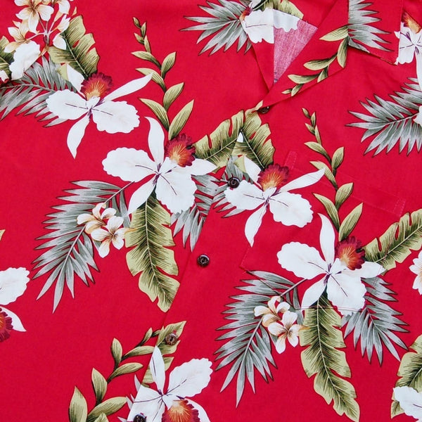 Volcanic Red Hawaiian Rayon Shirt - Mens Shirts