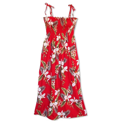 Volcanic Red Maxi Hawaiian Dress - One Size / Red - Womens Dress