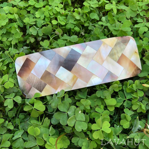 Waikiki Mother Of Pearl Hair Barrette - Bronze - Hair Accessories