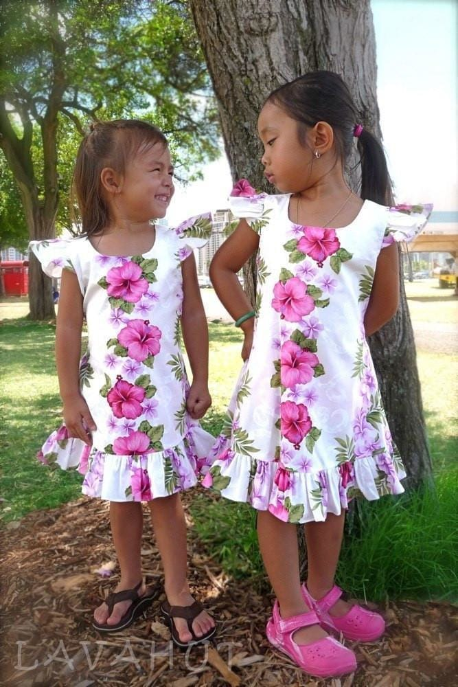 White Mist Hawaiian Girl Cotton Dress - Girls Hawaiian Dresses
