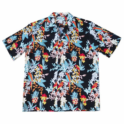 Wild Parrots Black Hawaiian Rayon Shirt - Xs / Black - Men's Shirts