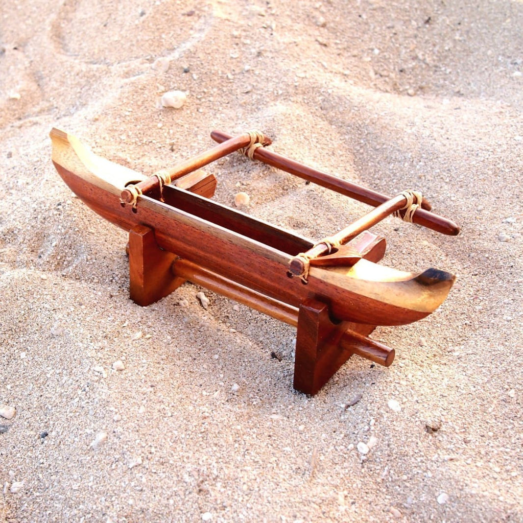 Wooden Outrigger Canoe With Stand - Souvenir