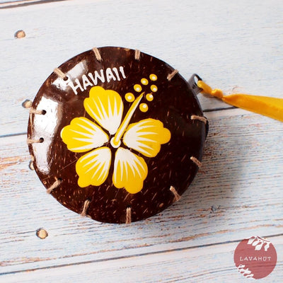 Yellow Hibiscus Fun Hawaiian Coconut Coin Purse - Yellow - Hawaiian Bags