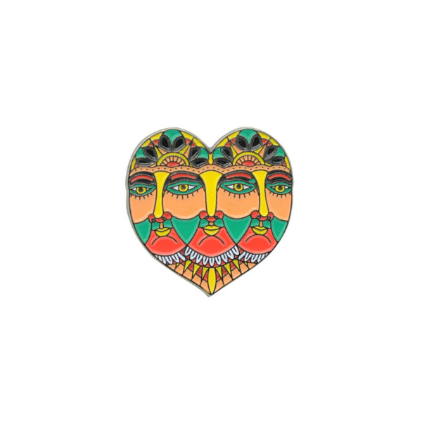 Triple Face Deity Pin