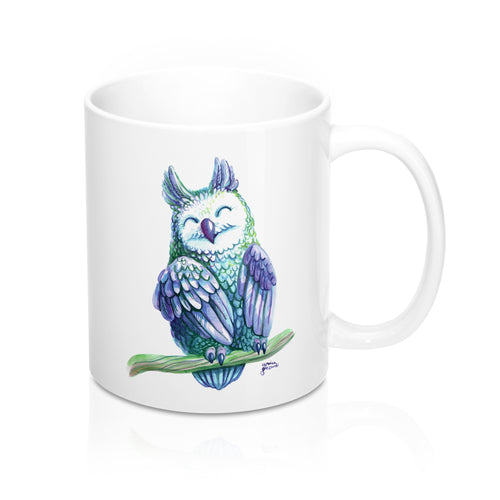 Violet Watercolor Owl Mug 11oz