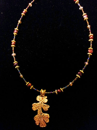 Gold Dipped Oak Leaf and Burgundy Pearls