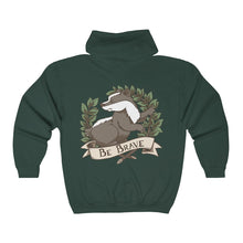 Be Brave Badger Crest Unisex Heavy Blend™ Full Zip Hooded Sweatshirt