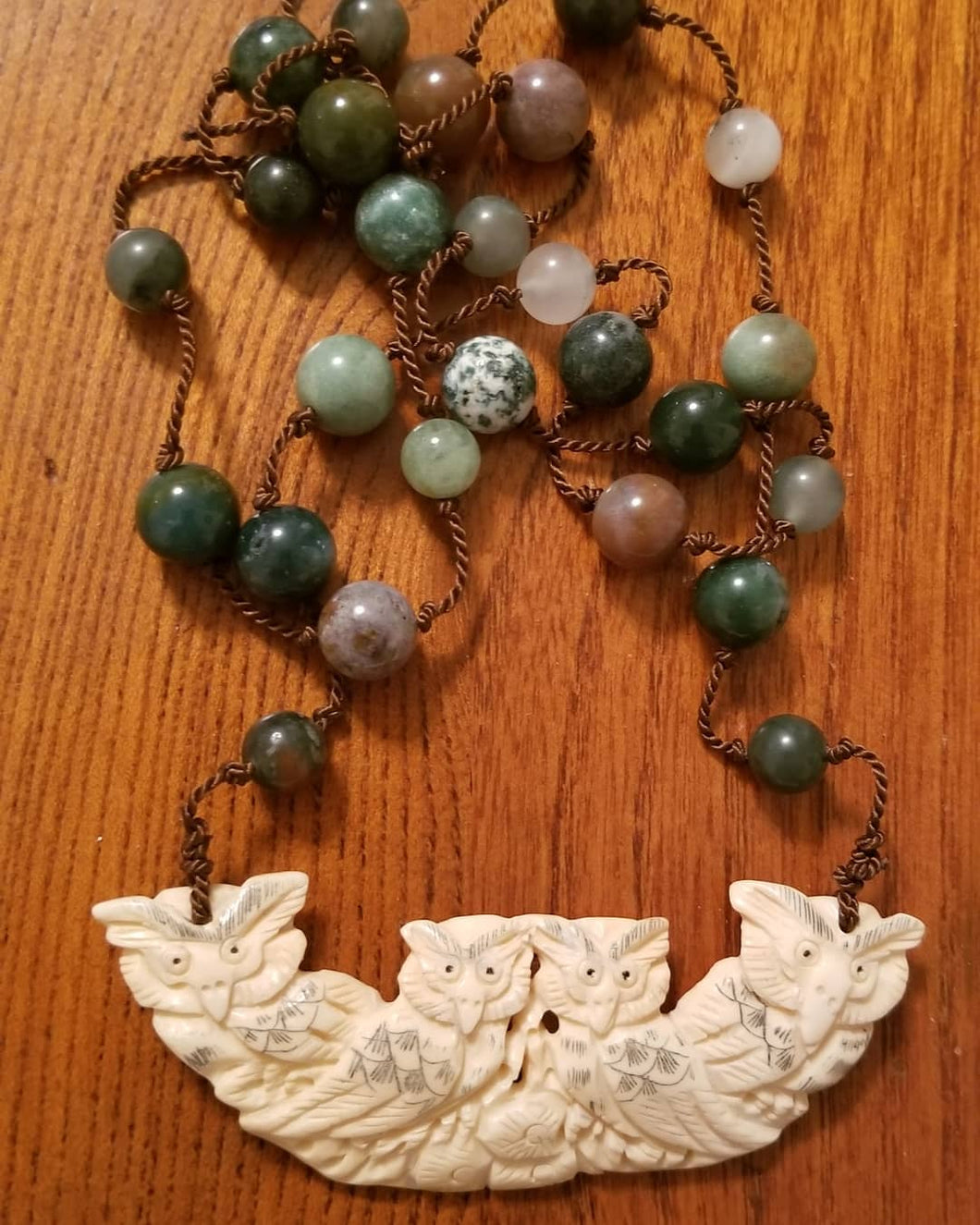 Owl Family with Agate Beads Necklace