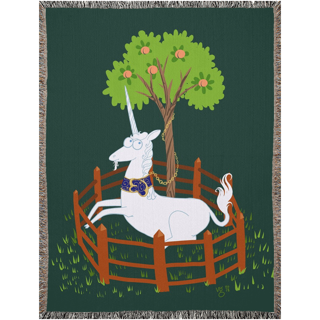 Unicorn In A Predicament Tapestry Woven Blanket