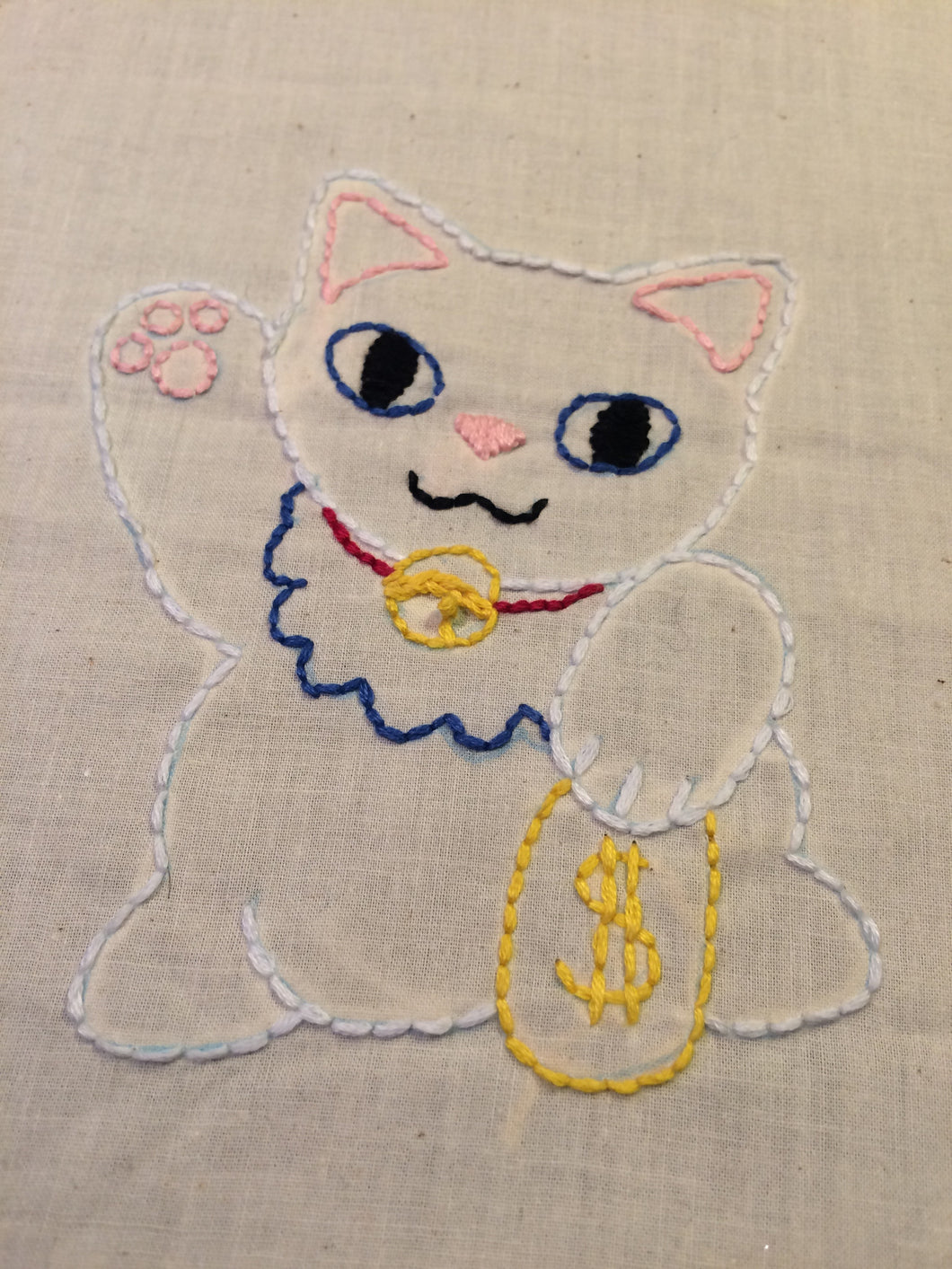 Moneycat Embroidery pattern
