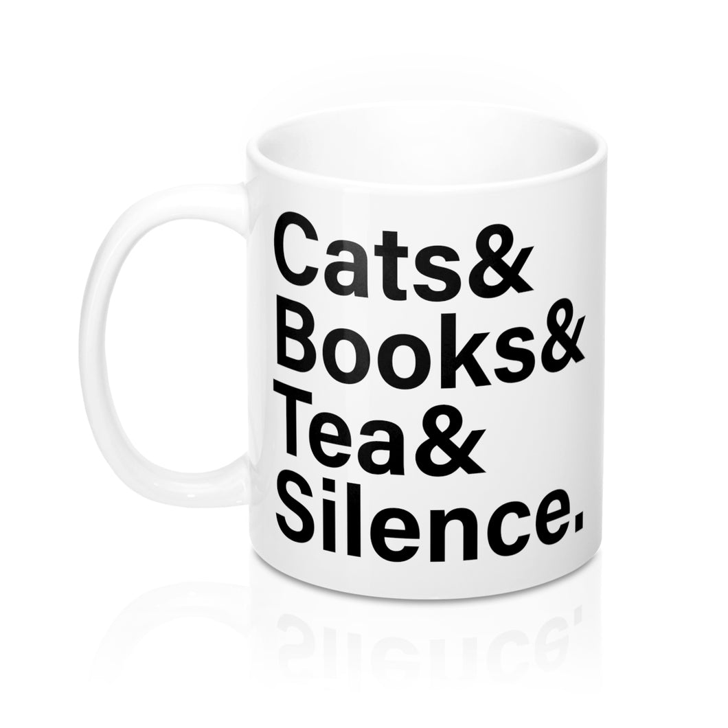 Introvert's Mug- Cats Books Tea Silence 11oz