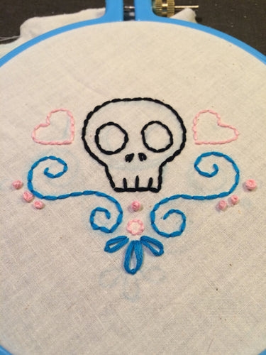 Cute Heartskull embroidery pattern