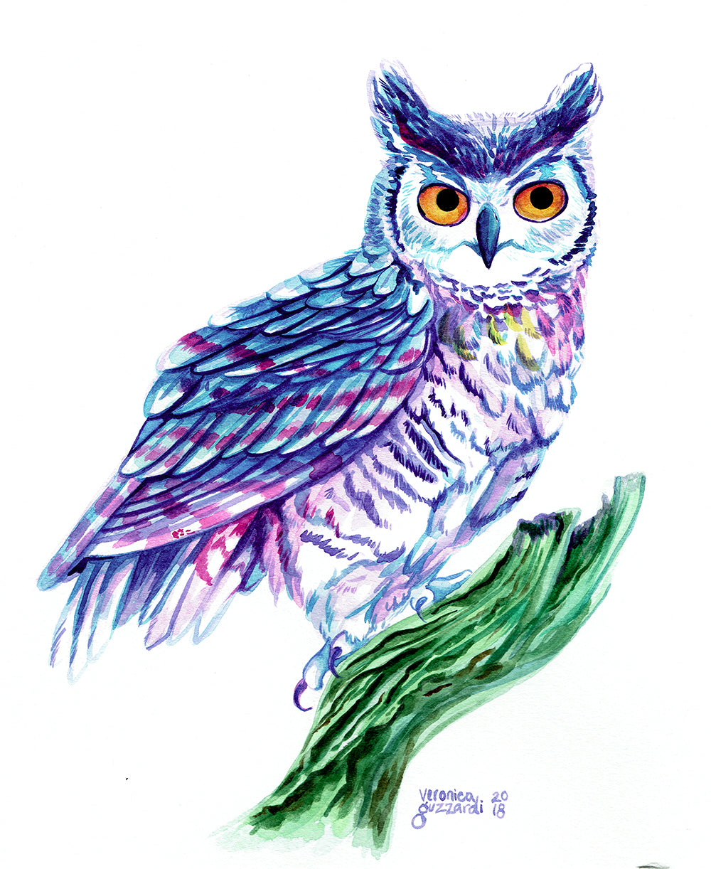 Horned Owl original watercolor painting