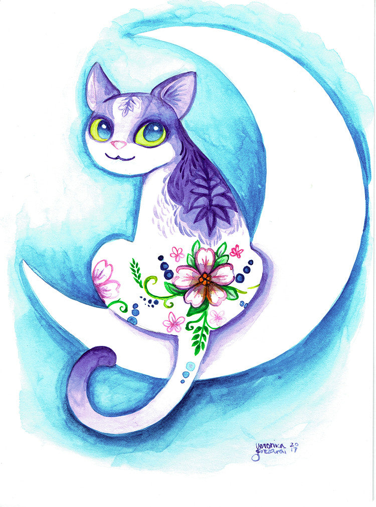 Flower Mooncat Watercolor Painting