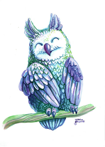 Cute Owl Watercolor Painting