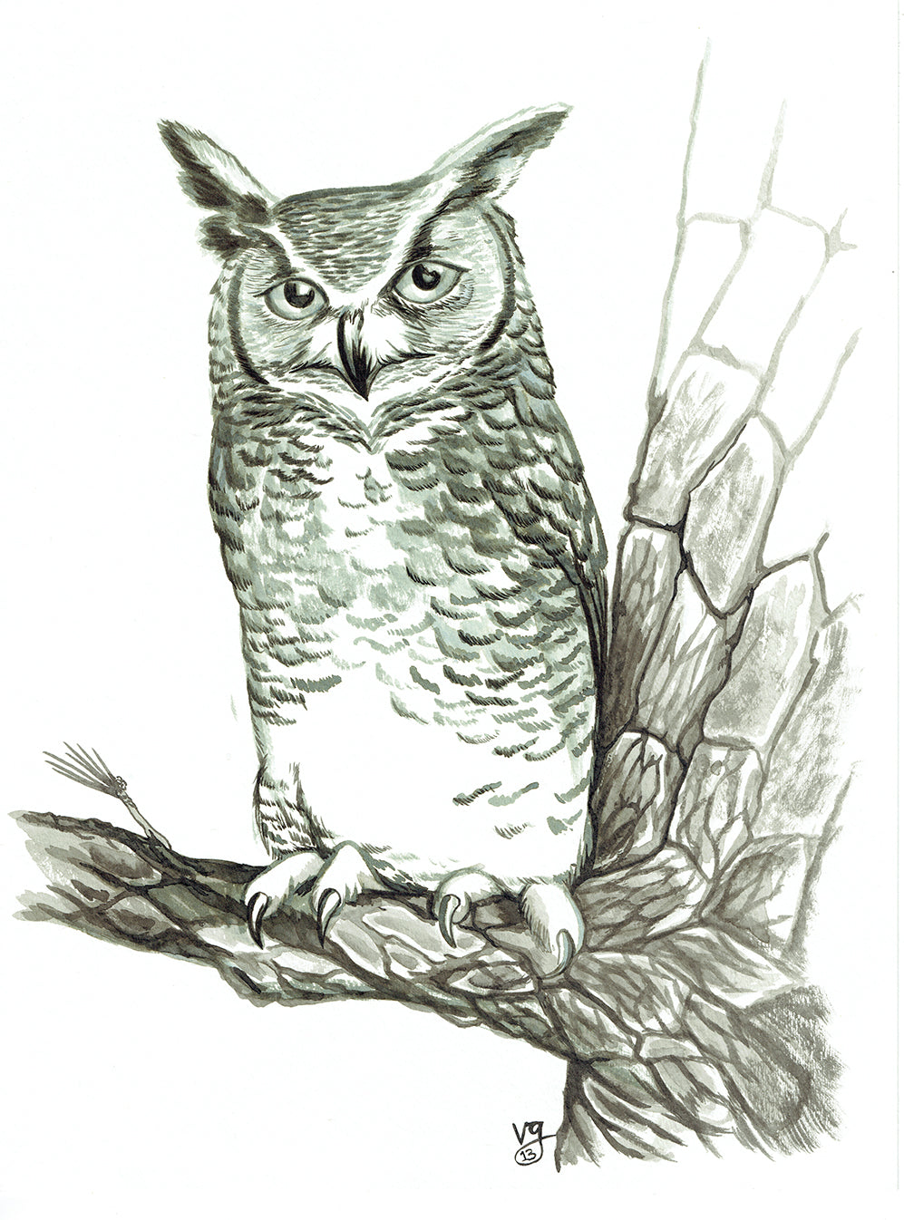 2013 Superb Owl— Great Horned Owl Original Ink Wash Painting