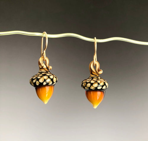 Amber Glass Acorn Earrings