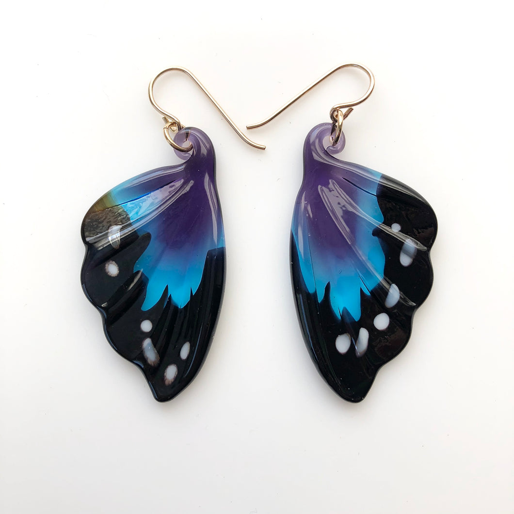 Blue/Purple Glass Butterfly Earrings
