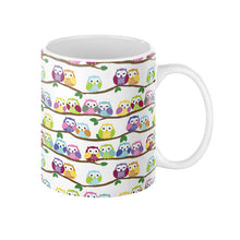 Colorful Owls on Branches Coffee Mug 11oz - Sharptooth Snail
