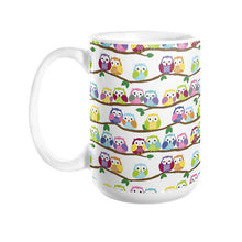 Colorful Owls on Branches Coffee Mug 15oz - Sharptooth Snail
