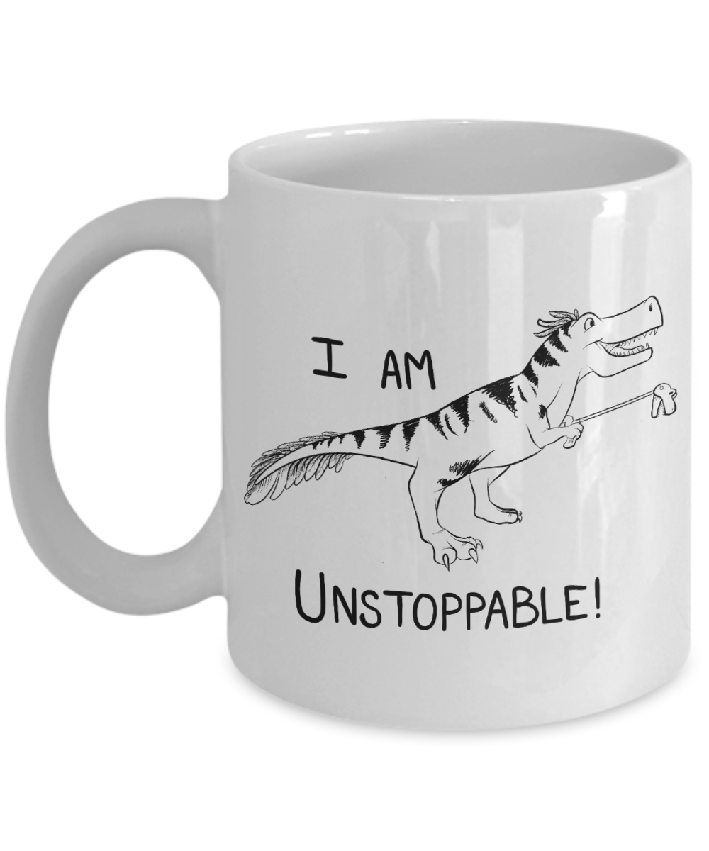 Unstoppable Dinosaur Mug Funny T-Rex With Feathers