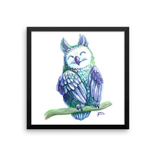 Violet Watercolor Owl Framed Poster