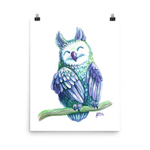Violet Owl Watercolor Poster Print