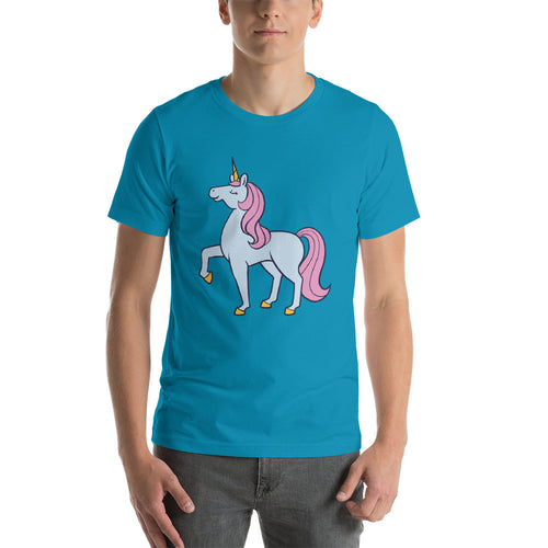 Blue and Pink Unicorn Short sleeve men's t-shirt