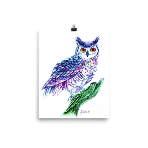 Watercolor Horned Owl Poster Print