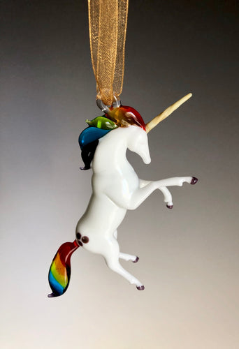 Rainbow Unicorn Glass Ornament