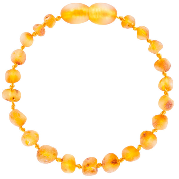 Unpolished Row Baltic Honey Amber teething Anklet