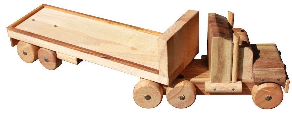 Classic Vintage style Semi Wooden Trailer toy truck for Kids