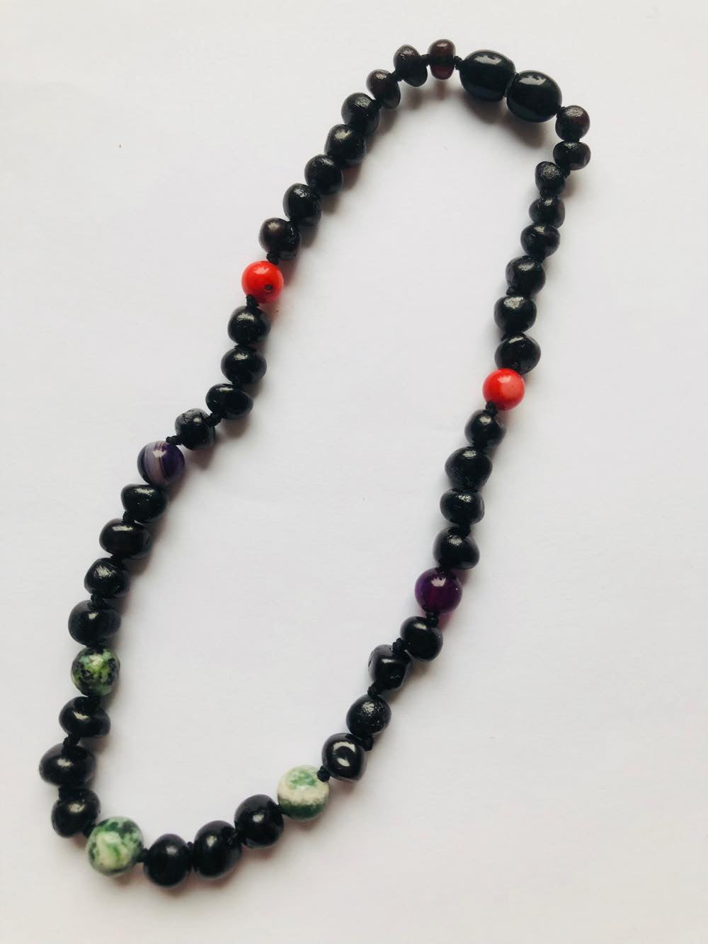 New Arrival  Pre order only Baby Baltic Amber teething necklace - Black and Red