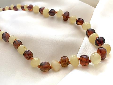 Baby Baltic Amber teething necklace - Cognac and lemon