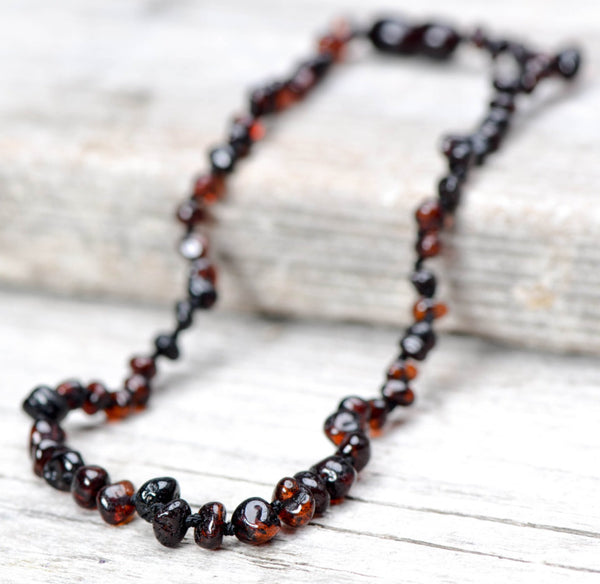 Baby Baltic Amber teething necklace - Cherry