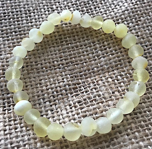 New Elastic Unpolished Lemon Amber Anklet