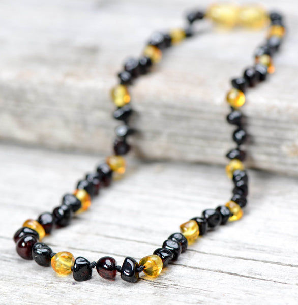 New - Baby Baltic Amber teething necklace - Cherry and Lemon