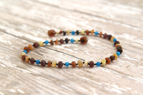 New Arrival - Magical Blue -  Unpolished Baby Multi Four Baltic Amber