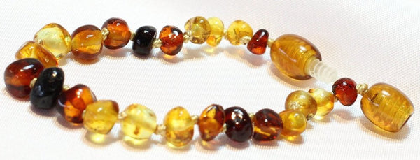 Baby Rainbow Baltic Amber teething bracelet.