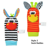 Cute Baby Soft Toy Socks and Wrist Rattles