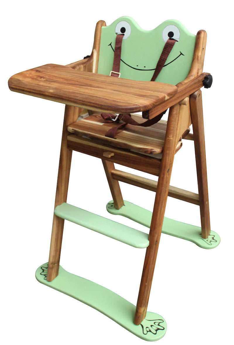 Classic Handmade Wooden frog High chair for baby boy and girl.