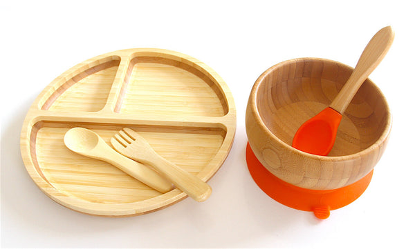 Baby Bamboo Plate, Bowl, Silicon Cap, Spoon, And Fork. | Parent's first choice