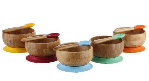 Baby Bamboo Bowl With Silicon Suction, Silicon Spoon | Organic Baby  Tableware
